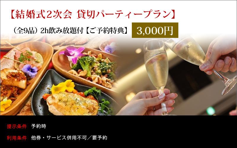 【結婚式2次会】【貸切パーティープラン】 (全9品)2h飲み放題付3000円【ご予約特典】
